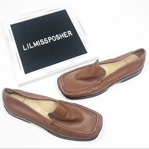 Anne Klein Brown Leather Slip On Loafer Size 8